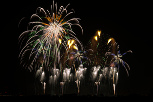 こうのす花火大会の音と光の合同スターマイン②「艶やか」の写真素材 [FYI02658732]