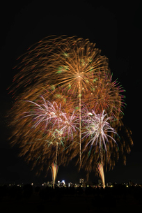 とりで利根川大花火の尺玉のパレードと常磐線で行こう!の写真素材 [FYI02658762]