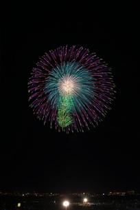 長岡まつり大花火大会の匠の花火で昇曲導付八重芯変化菊の写真素材 [FYI02659056]