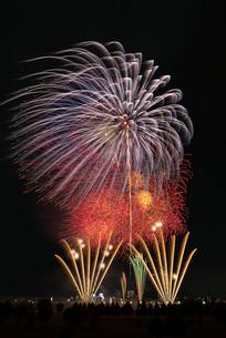 とりで利根川大花火の常磐線で行こう!と尺玉のパレードの写真素材 [FYI02659304]