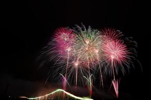 常総きぬ川花火大会 オープニング花火ナイアガラ富士200m付の写真素材 [FYI02659387]