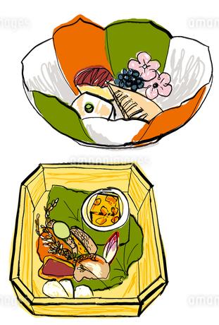 京懐石 先付けと八寸のイラスト素材 [FYI02659648]