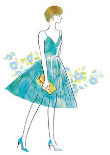 ドレスを着たショートカットの女性のイラスト素材 [FYI02659920]