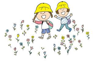 お花畑の中を歩く子供たちのイラスト素材 [FYI02659940]