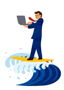 パソコンをしながらサーフィンをするビジネスマンのイラスト素材 [FYI02659942]