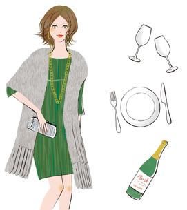 ドレスを着た女性とテーブルウェアのイラスト素材 [FYI02659943]