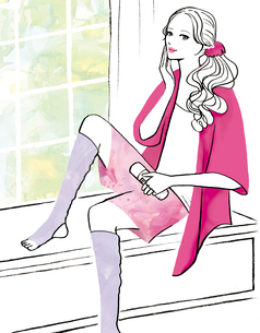 部屋で化粧水をつける女性のイラスト素材 [FYI02659951]