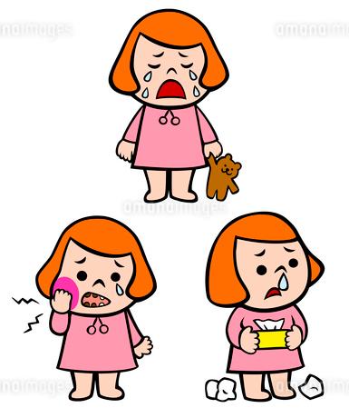 泣く女の子、歯が痛い女の子、鼻水が出ている女の子のイラスト素材 [FYI02659956]