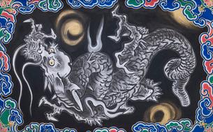 日光東照宮陽明門 八方睨龍の墨絵 (平成の大修理完成後)の写真素材 [FYI02659968]