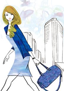 ビル街を行く女性のイラスト素材 [FYI02659971]