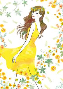 花に囲まれた女性のイラスト素材 [FYI02659975]