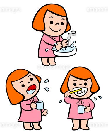 手を洗う子供、嗽ぐ子供、歯を磨く子供のイラスト素材 [FYI02659978]