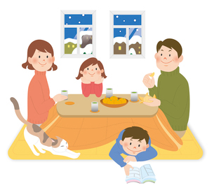 家族とこたつ1のイラスト素材 [FYI02659986]