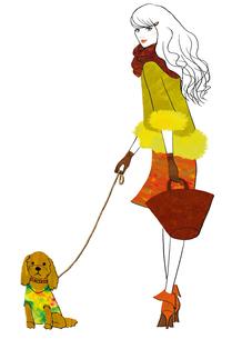 犬と散歩する女性のイラスト素材 [FYI02659988]