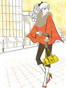 イルミネーションの街を行く女性のイラスト素材 [FYI02660021]