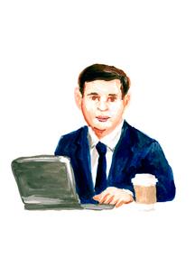 ノートパソコンを使うビジネスマンのイラスト素材 [FYI02660024]