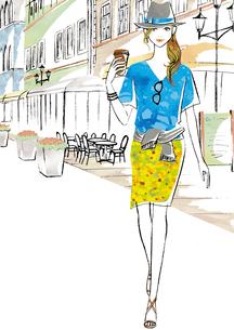 カフェに立ち寄った女性のイラスト素材 [FYI02660027]