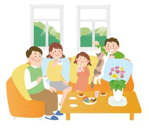 家族とリビング1のイラスト素材 [FYI02660048]