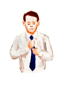 ネクタイを締めるサラリーマンのイラスト素材 [FYI02660051]