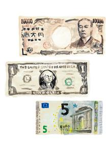 一万円札と1ドル紙幣と5ユーロ紙幣のイラスト素材 [FYI02660057]