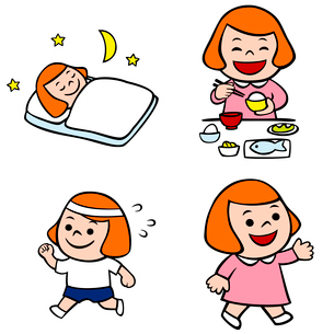 寝る子供、ご飯を食べる子供、運動する子供、元気な子供のイラスト素材 [FYI02660060]