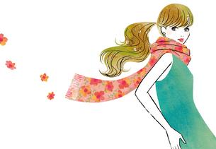 花柄のストールと女性のイラスト素材 [FYI02660064]