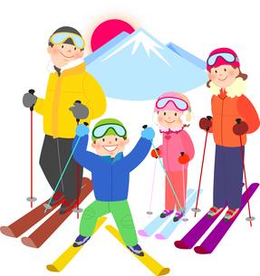雪山でスキーを楽しむ家族のイラスト素材 [FYI02660077]
