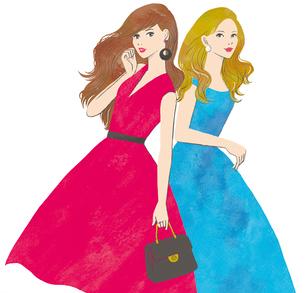 ドレスを着た2人の女性のイラスト素材 [FYI02660082]