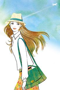 飛行機雲と帽子をかぶった女性のイラスト素材 [FYI02660085]