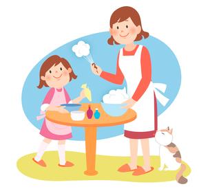 子供と一緒にケーキを作る母親のイラスト素材 [FYI02660095]