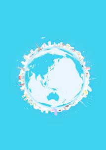 地表と背景を水色にして地球に見立てた円の周りに並べた建物のイラスト素材 [FYI02660096]