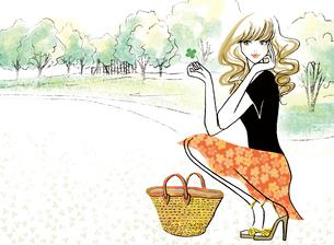 四葉のクローバーと公園と女性のイラスト素材 [FYI02660100]