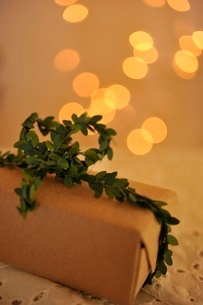 ナチュラルなギフトボックスとクリスマスライトの写真素材 [FYI02660114]