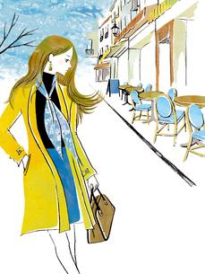 オープンカフェ前を歩く女性のイラスト素材 [FYI02660120]