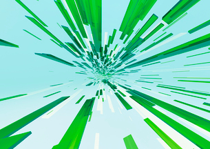 画面中央に向かって進む立体感のある白色と緑色のバー(光)のイラスト素材 [FYI02660128]