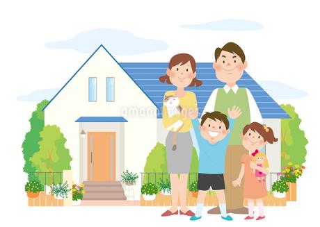 家族とマイホームのイラスト素材 [FYI02660130]