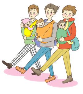 子供を抱える三人のお父さんのイラスト素材 [FYI02660135]