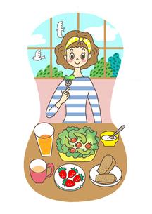 食事をする女性のイラスト素材 [FYI02660150]