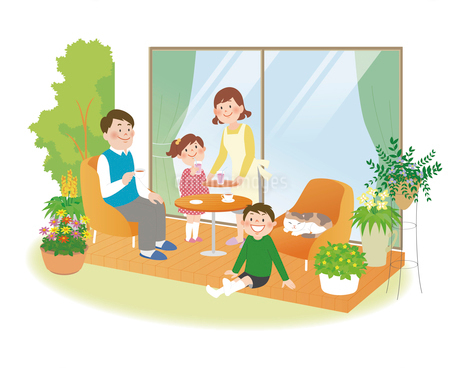 家族とバルコニーのイラスト素材 [FYI02660163]
