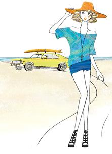 ビーチと車と女性のイラスト素材 [FYI02660177]