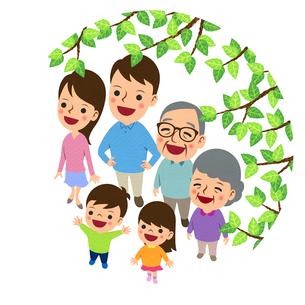 枝越しに空を見上げる三世代家族のイラスト素材 [FYI02660336]