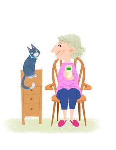 おばあさんと猫 心の友のイラスト素材 [FYI02660570]