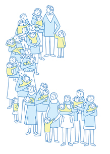 心配顔で子供を抱きながら並ぶ親たちのイラスト素材 [FYI02660873]