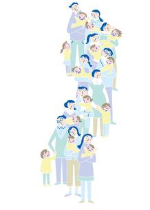 心配顔で子供を抱きながら並ぶ親たちのイラスト素材 [FYI02660881]