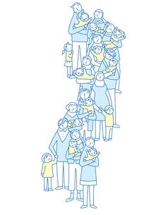 心配顔で子供を抱きながら並ぶ親たちのイラスト素材 [FYI02660882]