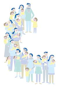 心配顔で子供を抱きながら並ぶ親たちのイラスト素材 [FYI02660885]