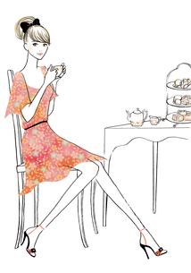 紅茶を楽しむ女性のイラスト素材 [FYI02661412]