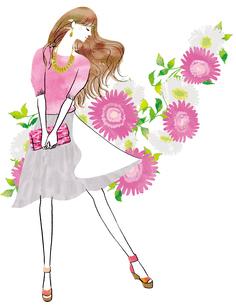 花と横向きの女性のイラスト素材 [FYI02661418]
