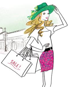 ショッピングセールを楽しむ女性のイラスト素材 [FYI02661419]