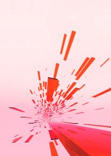 画面奥に向かう立体感のある赤色のバー(光)のイラスト素材 [FYI02661422]